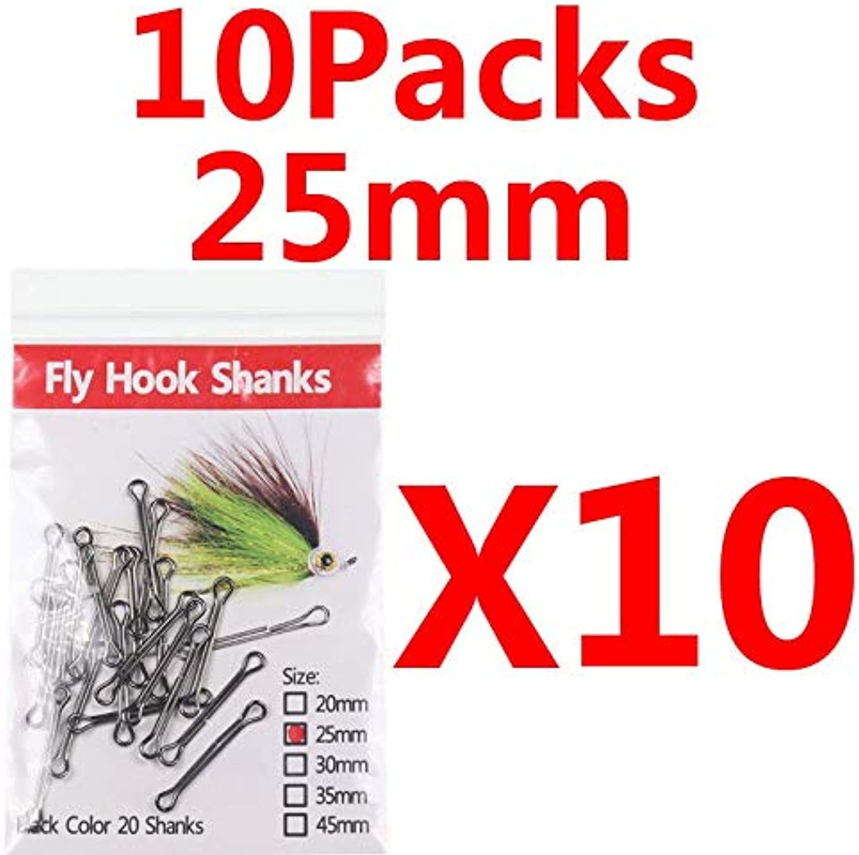Generic Bimoo 10packs 20pcs Pack Hook Shank Waddington Shank Stinger Fly Predator Fly Saltwater Fly Tying Material 10 Bag 25mm