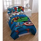 Avengers Marvel Comics Red & Blue Boys Twin Comforter & Sheet Set (4 Piece Bed in A Bag) + Homemade Wax MELT