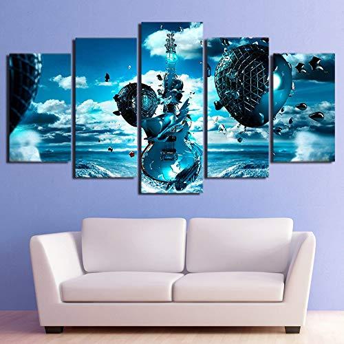 Gbwzz 5 stuks schilderijen op canvas, modern schilderijen, frame, muur, kunst, afbeeldingen, abstract, landscape, muziekinstrument, frozen gitaar, poster thuis decoratie No Frame 10x15 10x20 10x25cm