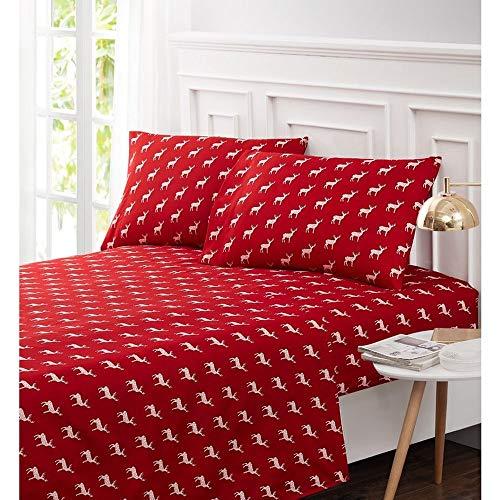 HNU 3 Piece Warm Cozy Cabin Lodge Red Christmas Sheets Twin Size, Beautiful Deer Animal Motif Printed Rustic Bedding, Lightweight Fade Resistant Deep Pocket Soft Microfiber Bed Sheet Set