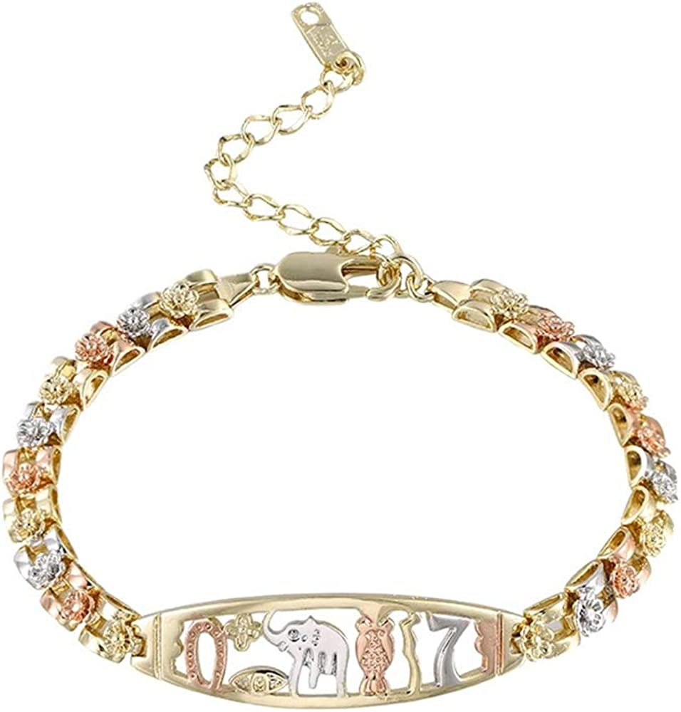 Tri-Colored Elephant Bracelets for Women Limited price sale Girls with plated Gold Max 49% OFF