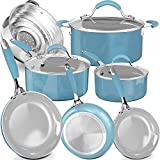 Non-Stick Induction Cookware Set,Pure Silicone Soft Grip Pots and Pans Set,Enamel Porcelain Exteriors,Professional Durable Healthy Coating,10-Piece,Dishwasher Safe,Turquoise/Incanus,Mother's Day Gift