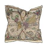 ALARGE Bufanda cuadrada de seda abstracta mapa del mundo antiguo protector solar ligero suave pañuelo bufandas abrigo chal silenciador para mujeres niñas
