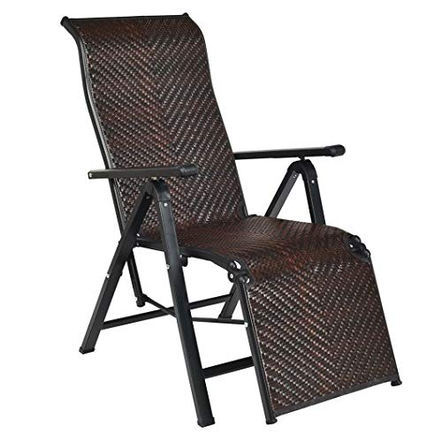 Productworld258 Patio Back Adjustable Rattan Folding Lounge Recliner