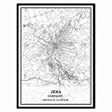 Jena Deutschland Karte Wandkunst Leinwand drucken Poster