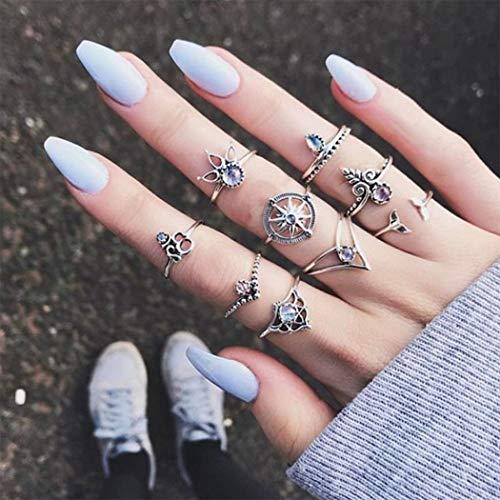 Yean Boho Crystal Ring Zilver Zon Statement Ringen Set Knuckle Bloem Ring voor Vrouwen en Meisjes (10st)