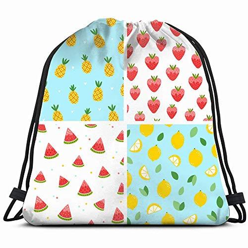 Summer Fruits S Collection rugzak voor gerechten en dranken, met trekkoord, voor jongens en meisjes, verjaardagscadeau, schoudertas voor fitnessstudio en party, 14 x 17 inch
