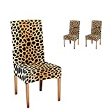 CUXWEOT Chair Covers Protector Animal Leopard Print Comfort Soft Seat Covers Slipcovers for Dining Room Party (Set of 2)