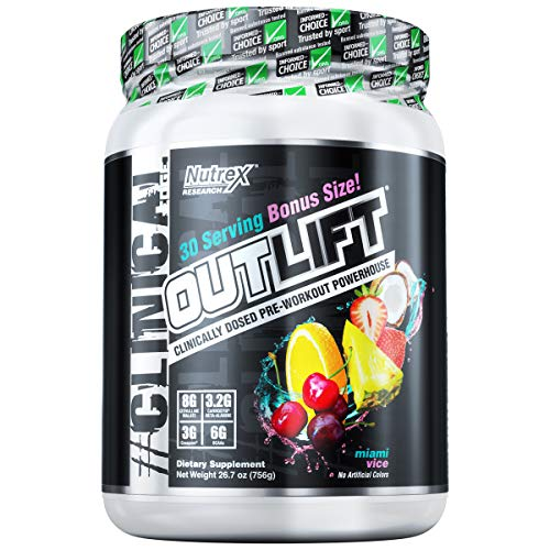 Nutrex Research Oulift Bonus Size | Clinically Dosed Pre-Workout Powerhouse, Citrulline, BCAA, Creatine, Beta-Alanine, Taurine, Banned Substance Free |Miami Vice |30 Servings
