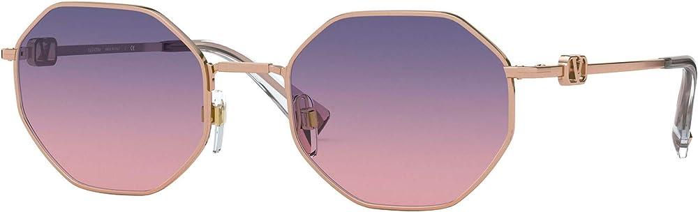 Valentino, occhiali da sole unisex, ottagonali vlogo, lente blu sfumata rosa VA2040 3004I6