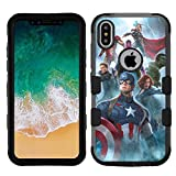 for iPhone XR (6.1') Case, Hard+Rubber Double Layer Hybrid Shockproof Rugged Armor Cover Case - Avengers Captain America #ZZMD