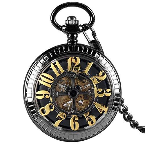 Q.AWXI Pocket Watch Self Winding Mechanical Pocket Watch Black/Green Arabic Numerals Dial Automatic Pocket Clock Steampunk Pendant Watch Gift