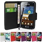 Fi9 Étui Portefeuille en Simili-Cuir avec Film de Protection d'écran et Stylet pour téléphone Portable Samsung Galaxy Ace 3...