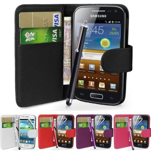 fi9® - Cover in similpelle per telefoni Samsung con protezione per schermo e stilo, - nero, Galaxy Ace GT-S5830 S5830i S5839i