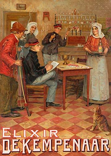Vintage bieren, wijnen en sterke drank 'Elixir De Kempenaar', België, 1905, 250gsm Zacht-Satijn Laagglans Reproductie A3 Poster