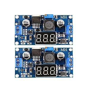 Dealikee 2 Pcs LM2596 LM2596S Buck Converter Adjustable DC to DC Step-down Voltage Regulator Power Module 36V 24V 12V to 5V 2A Voltage Stabilizer with LED Display