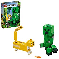 Kids can enjoy real-world Minecraft adventures on a big scale with 2 buildable characters from the popular video game: a BigFig Creeper and an Ocelot. This LEGO Minecraft toy provides hours of independent play and gives kids a cool LEGO Minecraft dec...