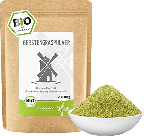 Gerstengraspulver BIO 1000g (1 kg) | gemahlenes Gerstengras aus kontrolliert biologischem Anbau | laborgeprüft | 100% naturrein ohne Zusätze | abgefüllt in Deutschland | bioKontor