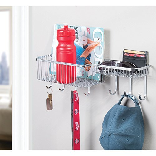 mDesign Metal Wall Mount Mail, Letter, Magazine Holder, Key Rack Hooks, and Accessory Organizer for Entryway, Hallway, Mudroom - Strong Steel Wire Design, Medium, Chrome