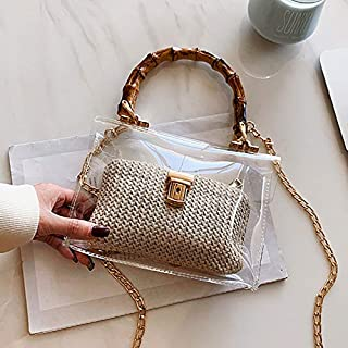 Adebie - Casual Clear Bamboo Handle Handbags Women Chains PVC Jelly Tote Bags for Women Transparent Messenger Bag Ladies Beach Straw Bag Beige []