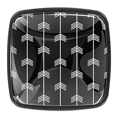 Juego de 4 pomos redondos para gabinete de setas, diseño de flecha blanca sobre fondo negro, 4 unidades