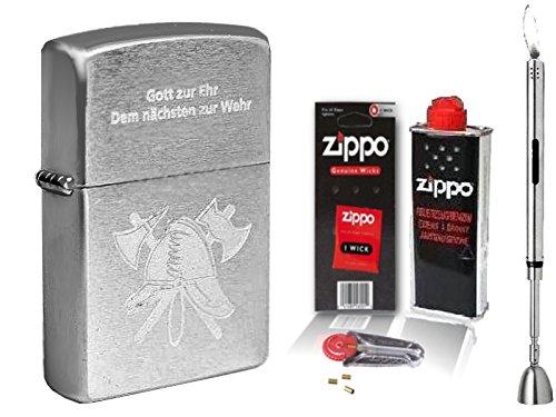 Zippo Feuerzeug Feuerwehr Gott zur Ehr Chrome brushed & Zubehör L + Stabfeuerzeug Chrome brushed
