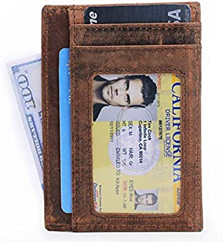 2-Count Premium Full Grain Leather Credit Card Wallet with RFID Blocking