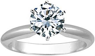 18K White Gold 6-Prong Round Cut Solitaire Diamond Engagement Ring (1.02 Carat H-I Color I1 Clarity)