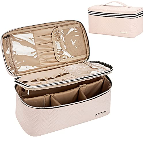BELALIFE Double Layer Makeup Bag for Travel, Large Makeup Organizer Case for Full Size Cosmetics, Portable Cosmetic Bag for Brushes Sets, Small Makeup Items , Pink