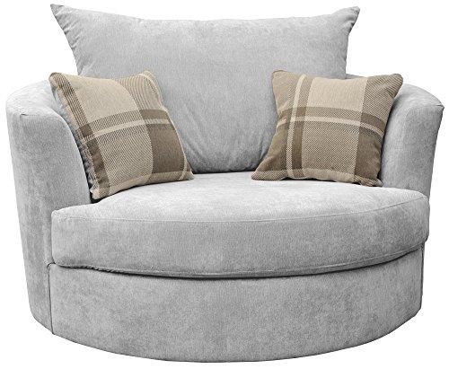 Dorado Corner Sofa Sectional 3 Seater 2 Seater Armchair Cuddle Chair Grey Velour Fabric (Silver,...