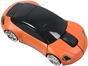 Leeko 2.4GHz 3D Car Shape Wireless Optical Mouse USB Gaming Mouse with Receiver for PC Laptop (Orange)