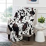 Bytide Cow Printed Soft Fuzzy Faux Fur Black and White Reversible Throw Blanket 50' x 60', Couch Cover Lightweight Fluffy Cozy Plush Blankets for Sofa Chair Bed Home Décor