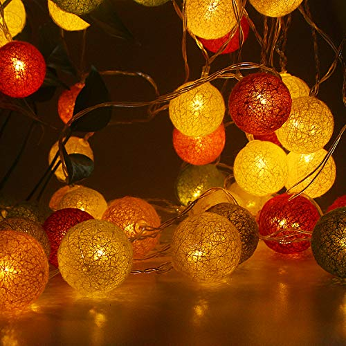 Battery Operated LED String Lights, Decorative String Lights Colored Led Lights 11.5ft 20 Cotton Balls Multicolored String Lights for Patio Home, Garden, Party, Christmas