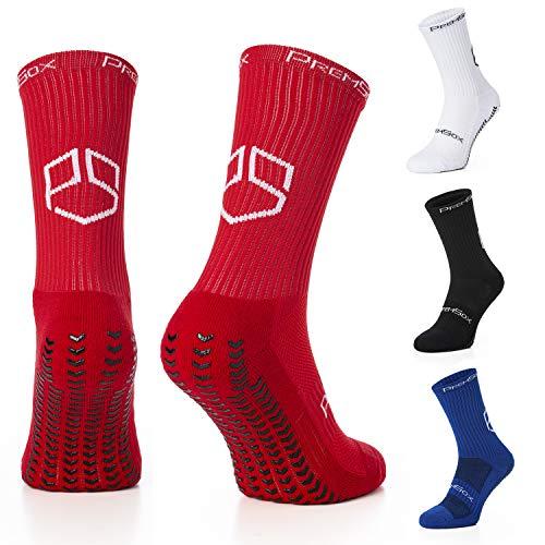 Rhino Gadget Fußball-Anti-Rutsch-Socken, Wadenpolster, Rundwadenkissen mit Griffgummi - Crew Socks - rot