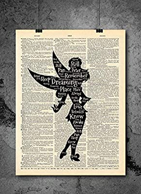 Tinkerbell Peter Pan - Dreaming - Inspirational Quote Art - Vintage Dictionary Print 8x10 inch Home Vintage Art Abstract Prints Wall Art for Home Decor Wall Decorations Ready-to-Frame