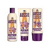 Aussie, Routine Réparation des Cheveux, Repair Miracle Shampoing pour Cheveux Abimés, 300 ml, Repair Miracle Après-shampoing 200 ml et 3Min Reconstructor Soin Intensif 250 ml
