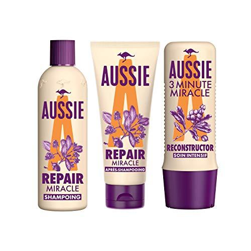 Aussie Repair, Repair Miracle Shampoing 300ml, Repair Miracle Après-shampoing 200ml et 3MM Reconstructor Soin Intensif 250ml, À L'Huile De Graines De Jojoba D'Australie, Routine Réparation Des Cheveux