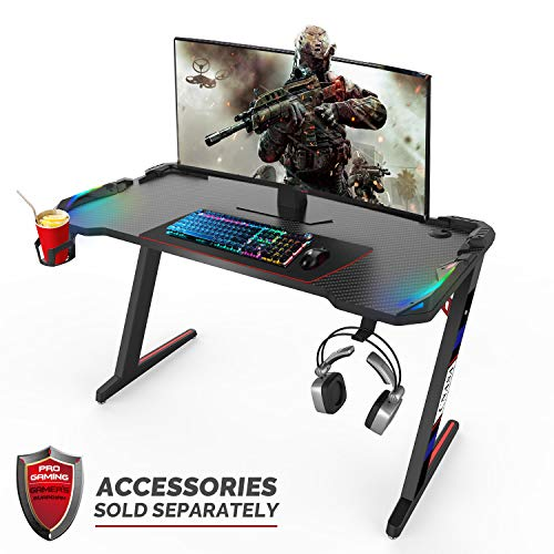 CNASA Gaming Desk,Premium Home Office PC Computer Table for Gamer Pro, Black Gaming Desks Workstation with RGB LED Lights,Cup Holder, Headphone Hook,Storage and 2 Cable Management Holes