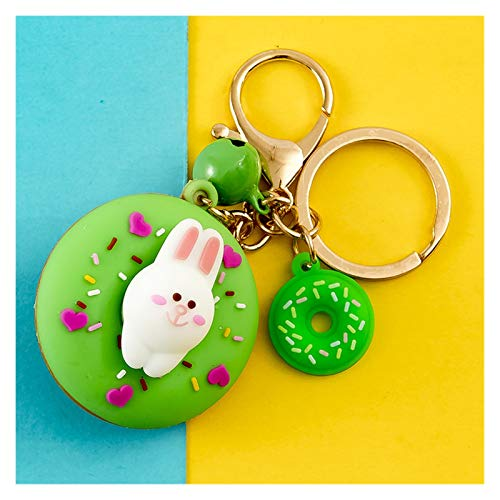 Jfsmgs Couple Keychains Cute Sweet Donuts Keychain For Keys Cat Rabbit Corgi Cute Pet Key Chain Creative Backpack Car Pendant Acceesories Keyring Gifts (Color : 05)