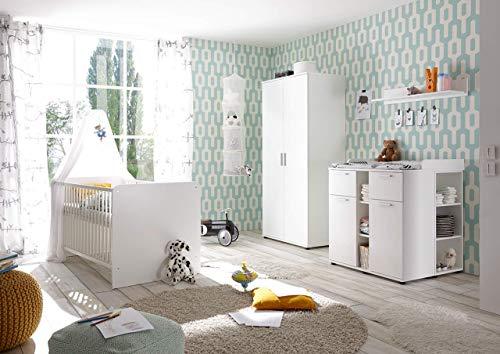 lifestyle4living Babyzimmer, Kinderzimmer, Komplett-Set, Babymöbel, Einrichtung, Junge, Mädchen, Kleiderschrank, Wickelkommode, Babybett, Weiß