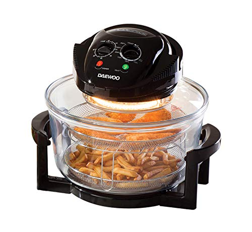 Daewoo Deluxe 17L 1300W Halogen Air Fryer with an Extension Ring- 60min Timer with Self-Cleaning Function, Adjustable Temperature Control and 7 Accessories Included - Black