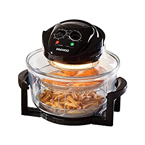 Daewoo Deluxe 17L 1300W Halogen Air Fryer with an Extension Ring- 60min Timer with Self-Cleaning Function, Adjustable Temperature Control and 7 Accessories Included – Black