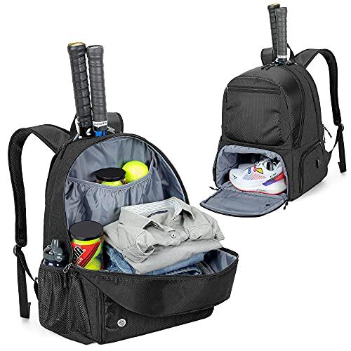 DSLEAF Tennis-Rucksack, Tennistasche für 2 Schläger mit Gepolsterten Schultergurten und Separates belüftetes Schuhfach für Damen und Herren, Schwarz