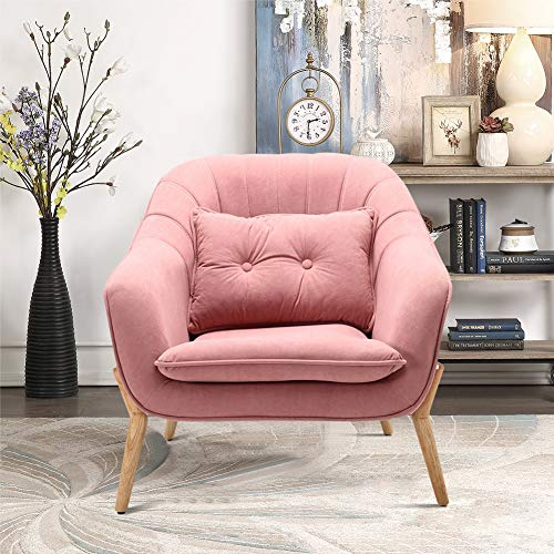 INMOZATA Armchair Pink Velvet Accent Tub Chair High Wing Back Occasional Chair Load Maximum Weight 150kg for Living Room Bedroom Dining Room