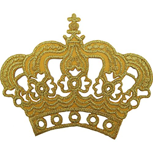 Oro Corona parche bordado hierro/sew on king queen fancy dress costume Badge