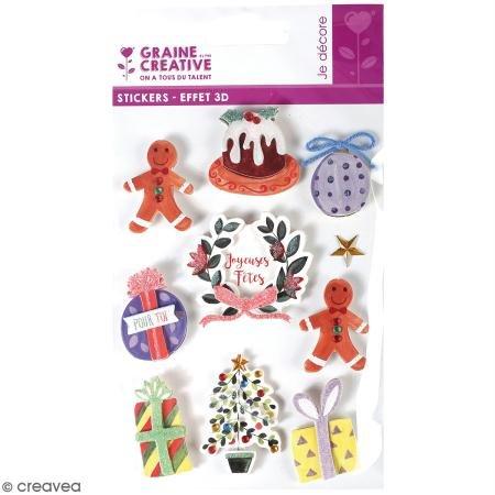 Stickers 3D - Décorations de Noël - 10 autocollants