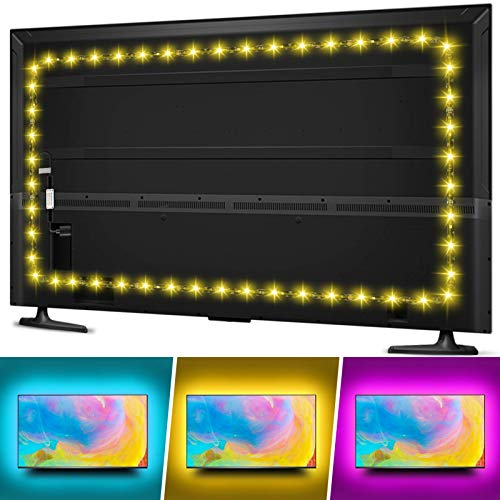 TV LED Backlight for 70 75 80 82inches TV, Hiromeco 18Ft USB TV Bias Lighting with RF Remote- Cover 4/4 Sides TV Background Lights Ambient Mood Lighting