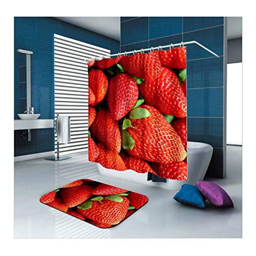 Bishilin Badezimmerteppich Set 2 Stück, Polyester-Stoff Duschvorhang Waschbar Erdbeeren 150x200 Badematte WC Vorleger 40x60