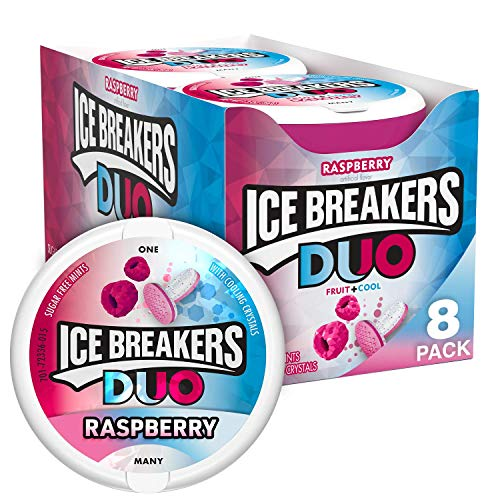 ICE BREAKERS DUO Raspberry Flavored Sugar Free Breath Mints, Bulk, 1.3 oz Container (8 ct)