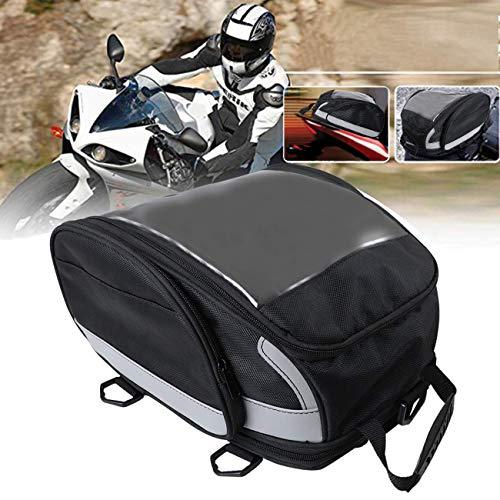 KOLEMO バイク用シートバッグ ヘルメットバッグ 雨具など小物入れ 多機能 大容量 反射テープ付き 丈夫 ツーリング オフロード アウトドア ブラック